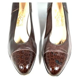 Ferragamo women's croc toe/heel brown leather pump